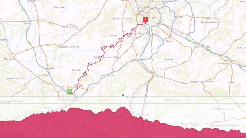 Yarışın haritası ve eğim grafiği üst üste. Kaynak: tracedetrail.com